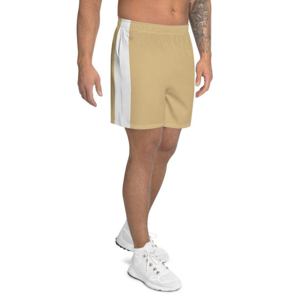 Beige Men's Athletic Long Shorts with White Stripe - Shorts