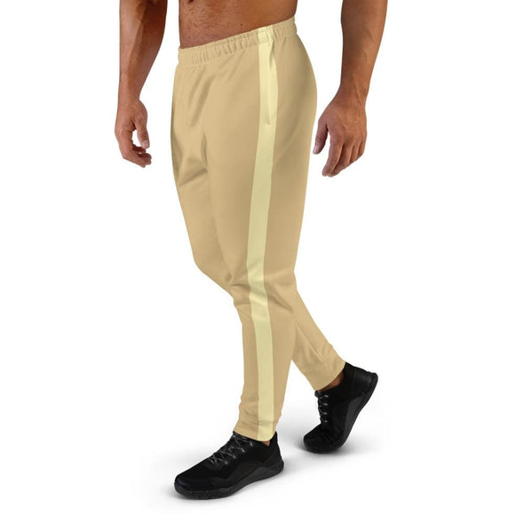 Beige Men's Joggers with Cream Colored Stripe - Joggers