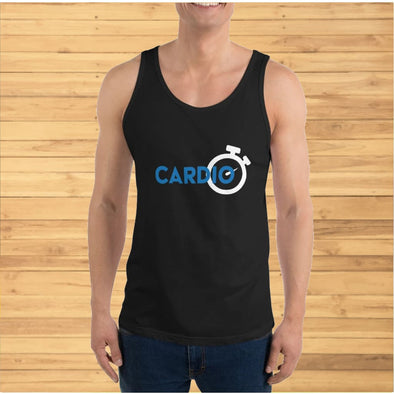 Blue Cardio Design on Dark Colored Tank Top - Tank Top