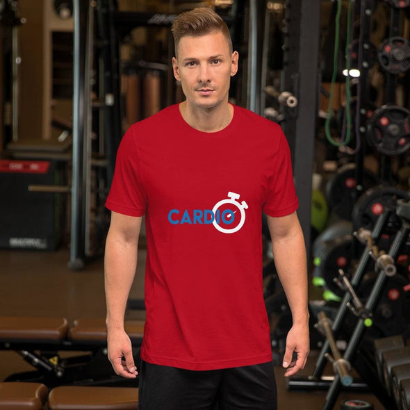 Blue Cardio Design on Men's T-Shirt - Red / S - T-shirts