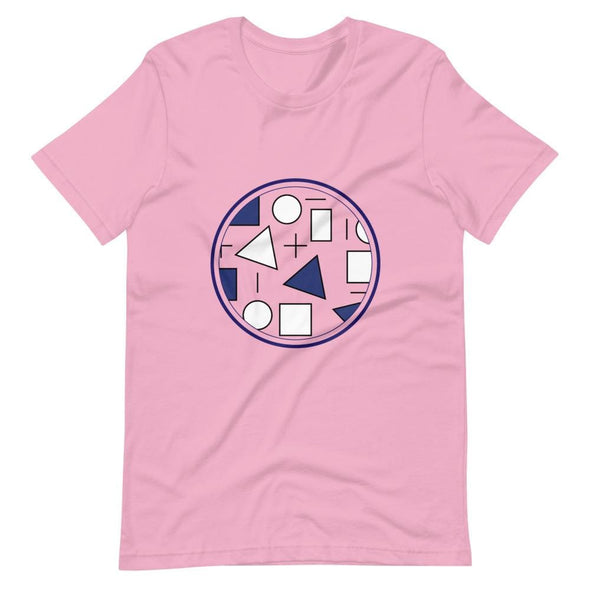 Blue Circle & Square Design on T-Shirt - Ref 011 - Lilac / S
