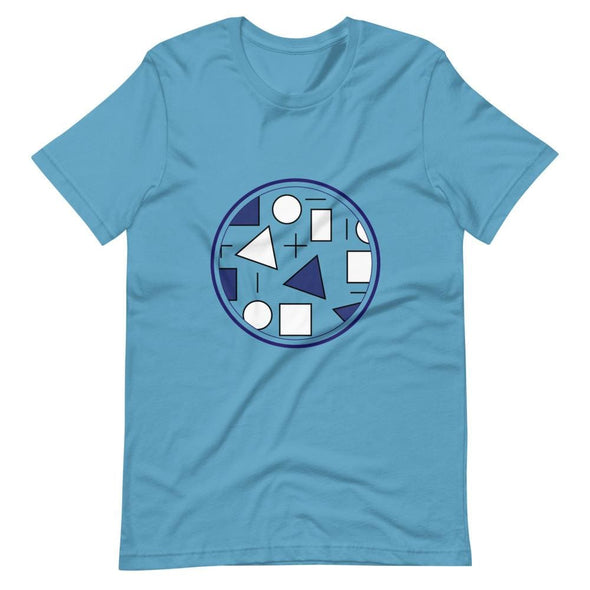 Blue Circle & Square Design on T-Shirt - Ref 011 - Ocean