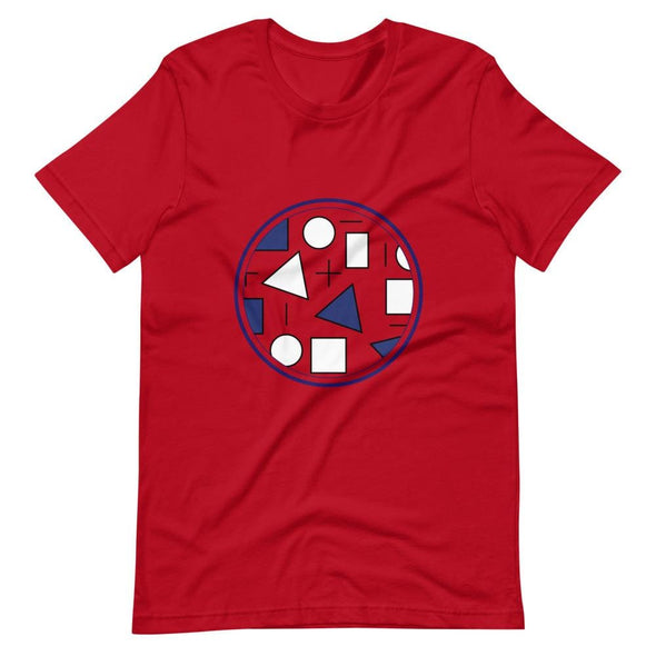 Blue Circle & Square Design on T-Shirt - Ref 011 - Red / S -