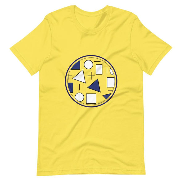 Blue Circle & Square Design on T-Shirt - Ref 011 - Yellow /