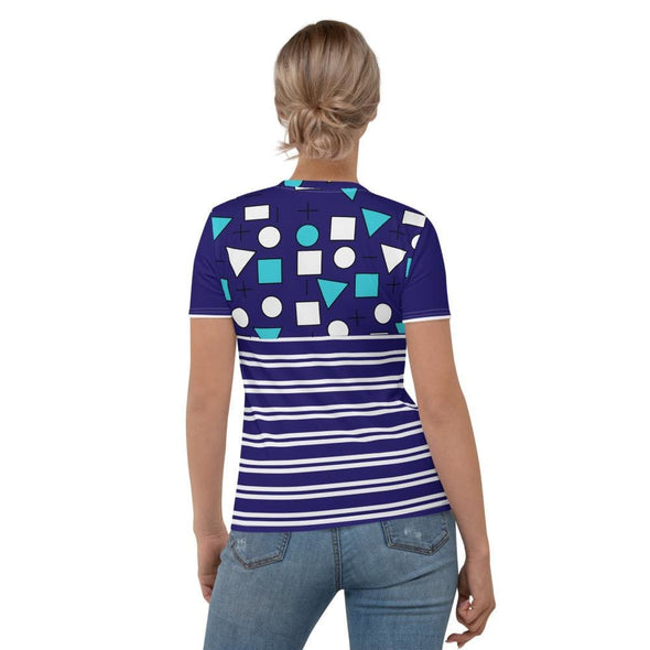 Blue Circle & Square Design on T-Shirt - Ref 012 - T-shirts