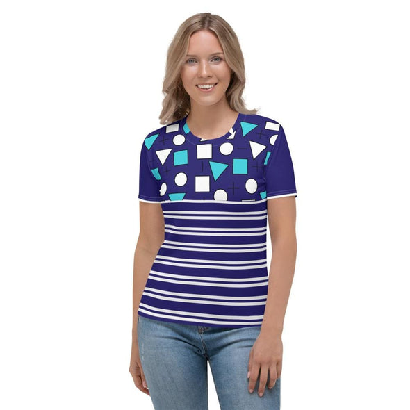Blue Circle & Square Design on T-Shirt - Ref 012 - XS -