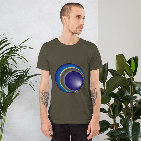 Blue Eclipse Design on Men's T-Shirt - Army / S - T-shirts