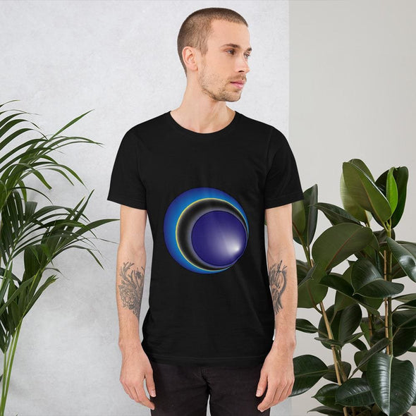 Blue Eclipse Design on Men's T-Shirt - Black / XS - T-shirts