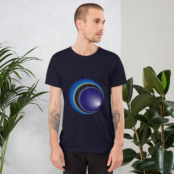 Blue Eclipse Design on Men's T-Shirt - Navy / XS - T-shirts