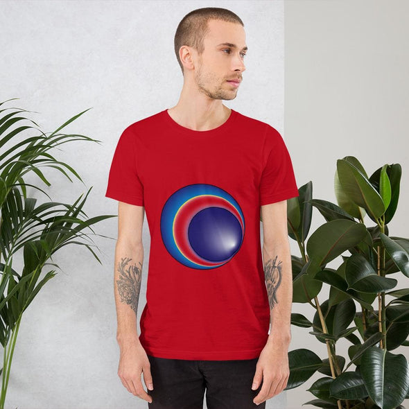 Blue Eclipse Design on Men's T-Shirt - Red / S - T-shirts