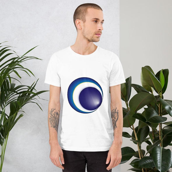 Blue Eclipse Design on Men's T-Shirt - White / XS - T-shirts