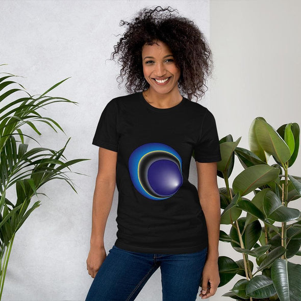 Blue Eclipse Design on Women's T-Shirt - Black / S -
