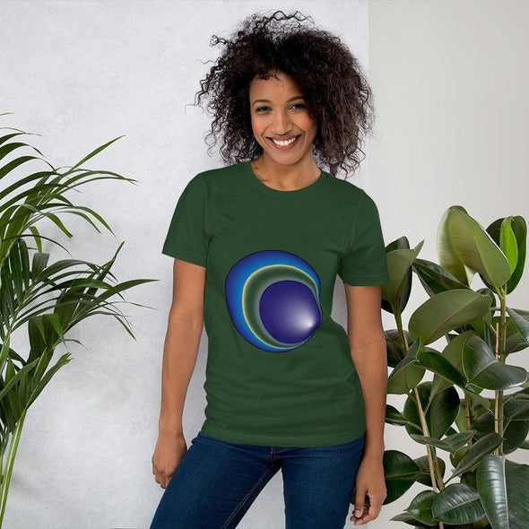 Blue Eclipse Design on Women's T-Shirt - Forest / S -