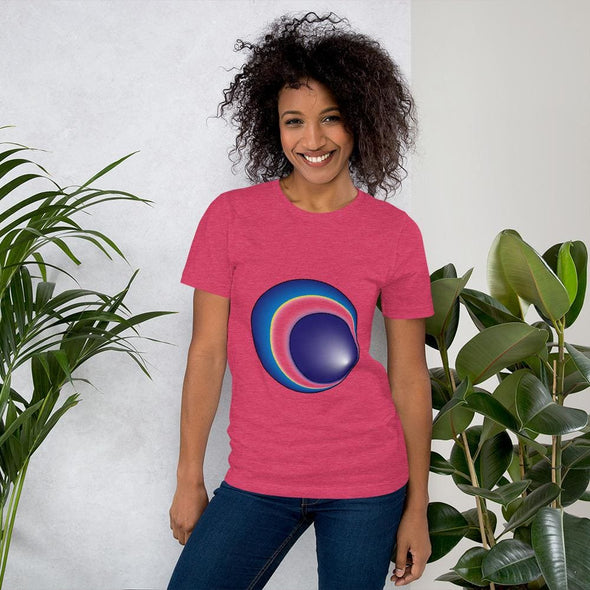 Blue Eclipse Design on Women's T-Shirt - Heather Raspberry /