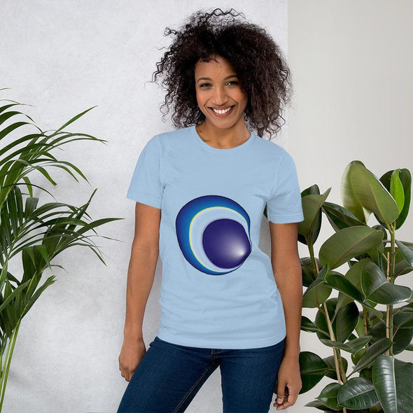 Blue Eclipse Design on Women's T-Shirt - Light Blue / S -