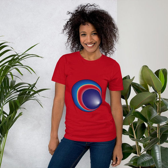 Blue Eclipse Design on Women's T-Shirt - Red / S - T-shirts