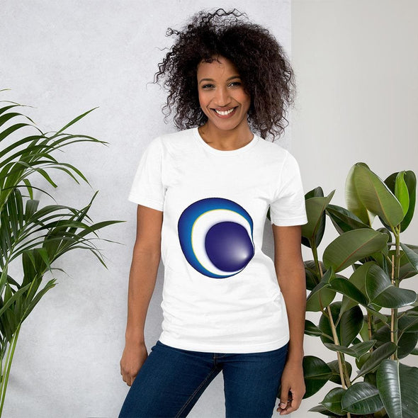 Blue Eclipse Design on Women's T-Shirt - White / S -
