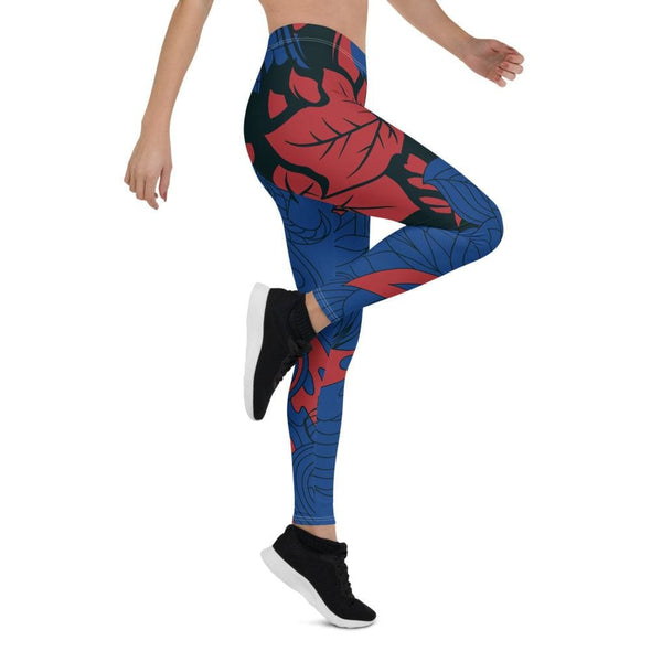Blue Leaf Design on Blue Colored Leggings - Leggings