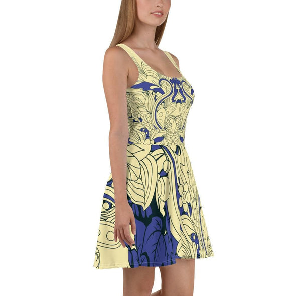 Blue Leaf Design on Cream Colored Flared Skirt Dress -