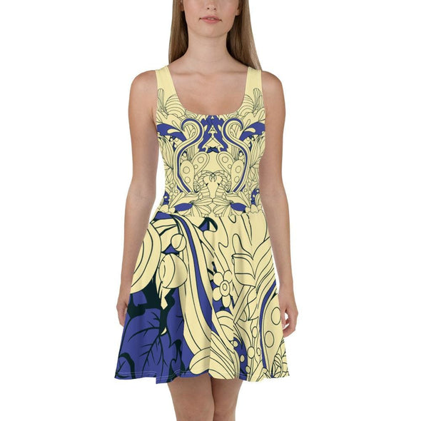 Blue Leaf Design on Cream Colored Flared Skirt Dress - XS -