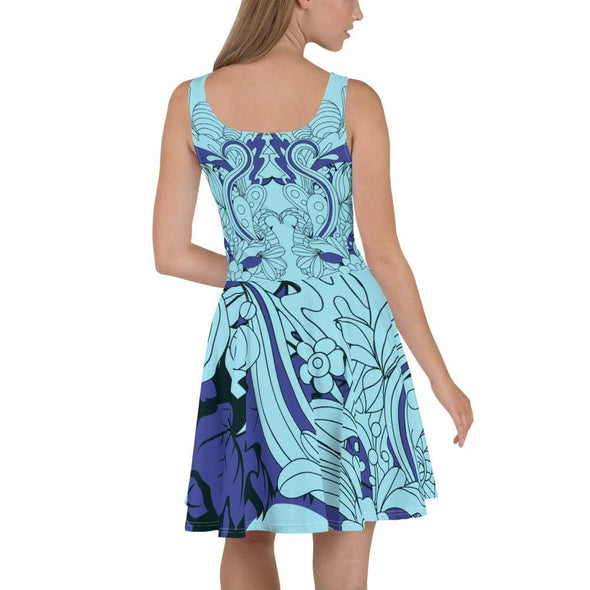 Blue Leaf Design on Light Blue Colored Flared Skirt Dress -