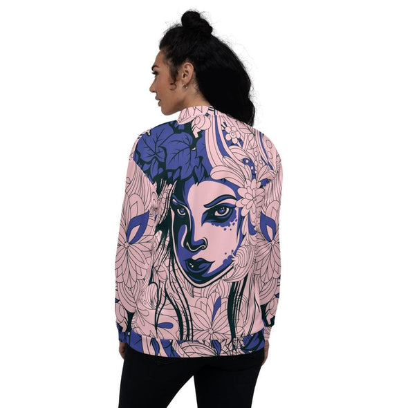 Blue Leaf Design on Pink Colored Women's Bomber Jacket -