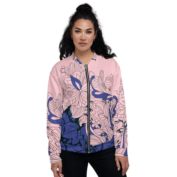 Blue Leaf Design on Pink Colored Women's Bomber Jacket - XS