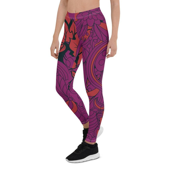 Blue Leaf Design on Purple Colored Leggings - Leggings