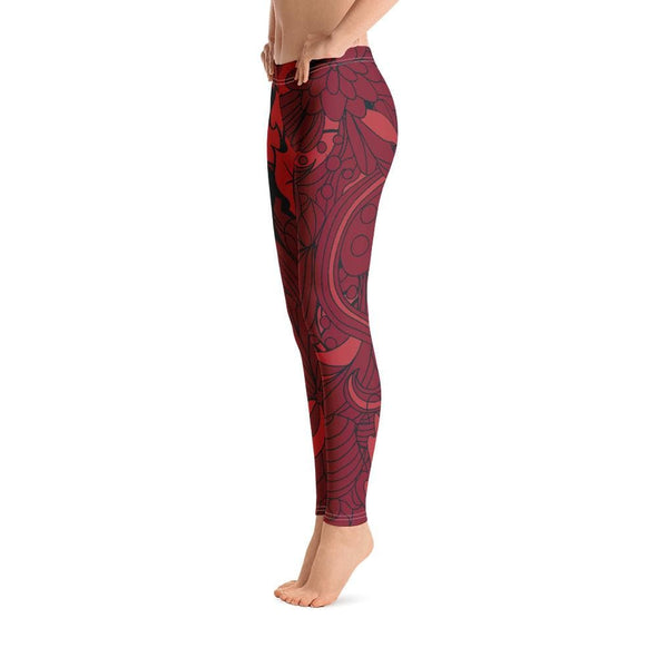 Blue Leaf Design on Red Colored Leggings - Leggings