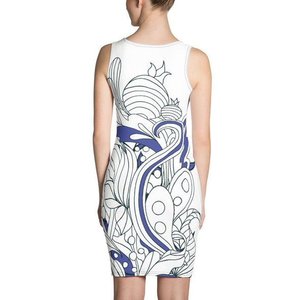 Blue Leaf Design on White Colored Dress - Dresses