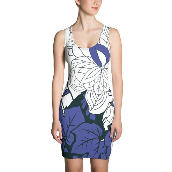 Blue Leaf Design on White Colored Dress - XS - Dresses