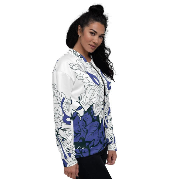 Blue Leaf Design on White Colored Women's Bomber Jacket -