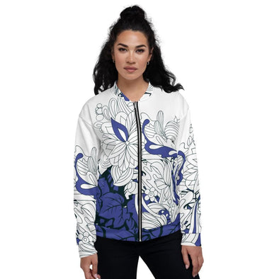 Blue Leaf Design on White Colored Women's Bomber Jacket - XS