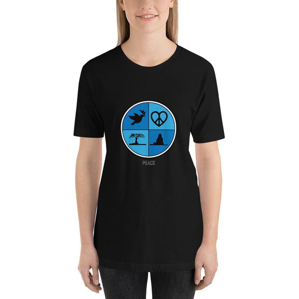 Blue Peace Art Design on Dark Colored Women's T-Shirt – Ref