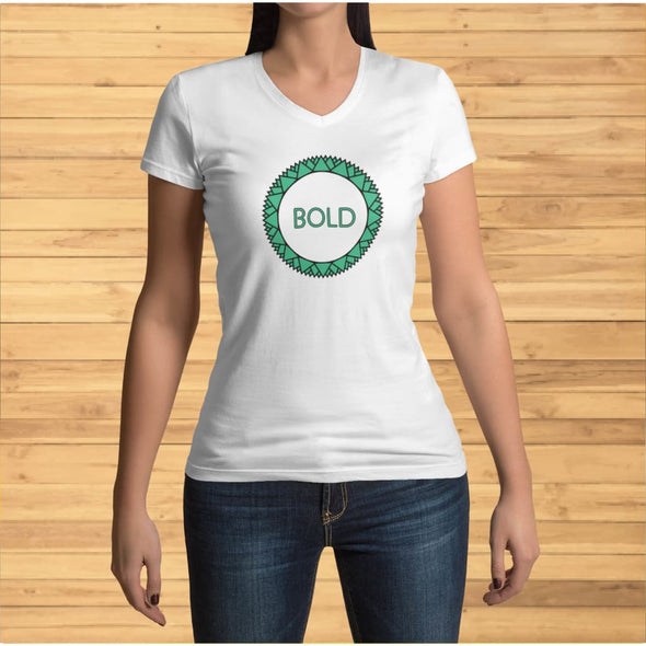 Bold Green Circle Design on V-Neck T-Shirt - T-shirts