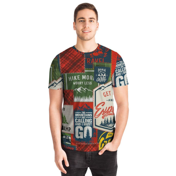 Camping Patchwork Design on Men's T-Shirt - T-shirts