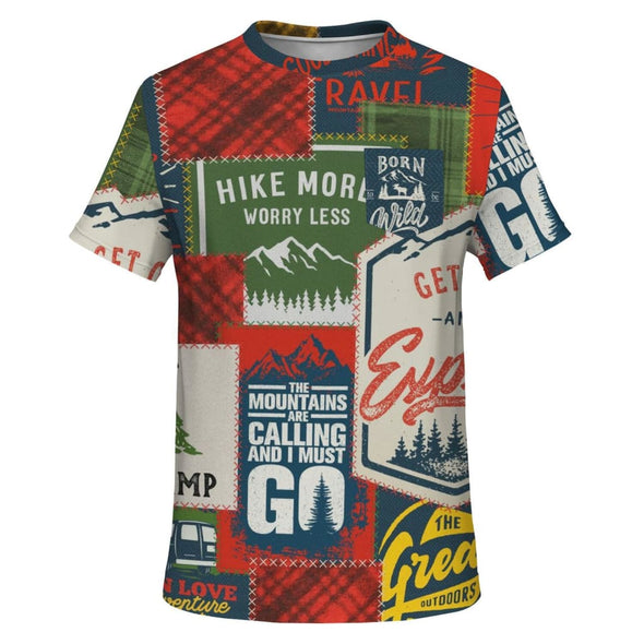 Camping Patchwork Design on Men's T-Shirt - XS - T-shirts