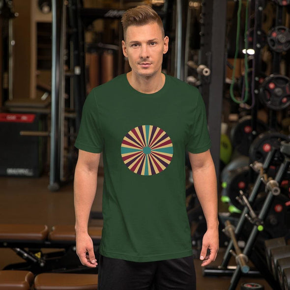 Color Splash Circle Design on Men's T-Shirt - Forest / S -