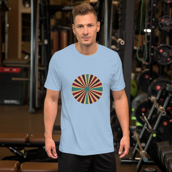 Color Splash Circle Design on Men's T-Shirt - Light Blue / S