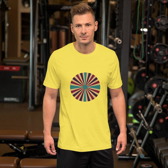 Color Splash Circle Design on Men's T-Shirt - Yellow / S -