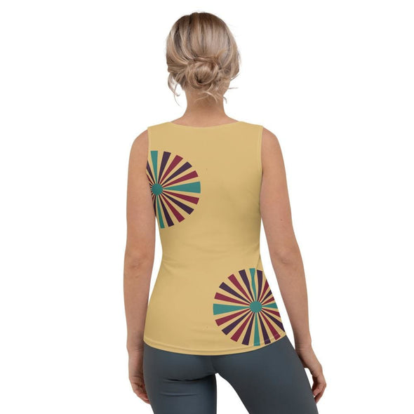 Color Splash Circle on Cream Tank Top - Tank Top