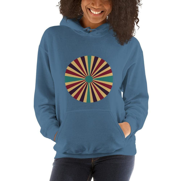 Color Splash Circle on Woman's Hoodie - Indigo Blue / S -