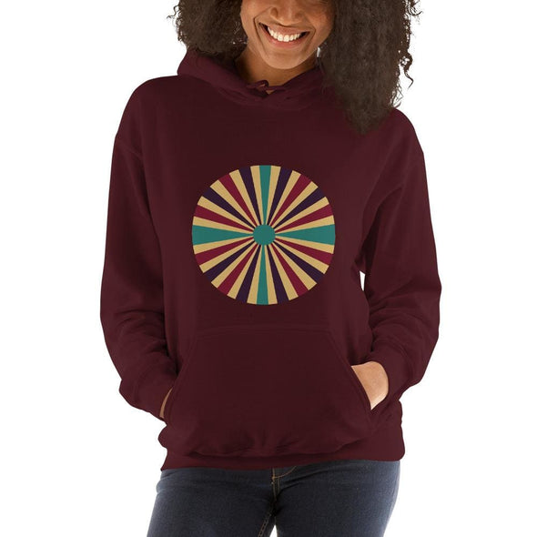 Color Splash Circle on Woman's Hoodie - Maroon / S - Hoodie