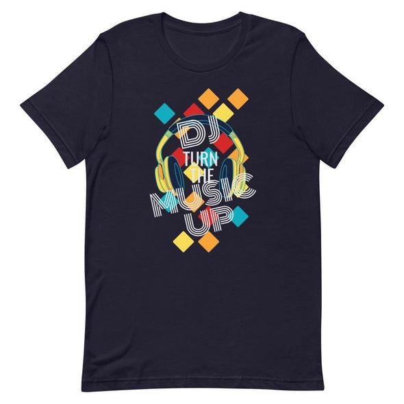 DJ Turn the Music Up on Dark Colored T-Shirt - Navy / XS -