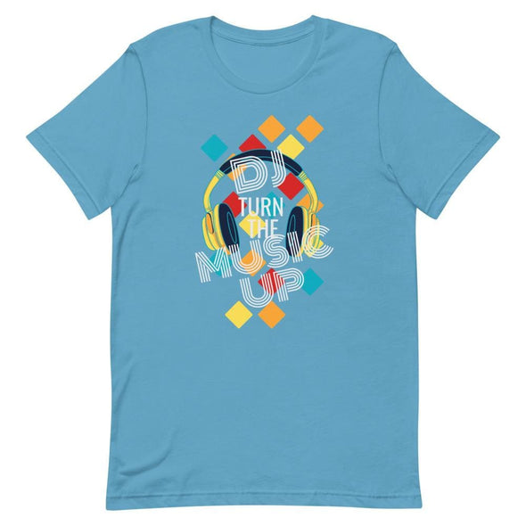 DJ Turn the Music Up on Dark Colored T-Shirt - Ocean Blue /