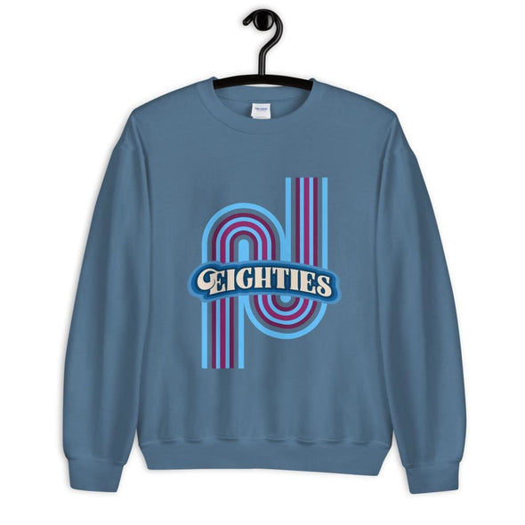 Eighties Design on Sweatshirt - Indigo Blue / S - Sweatshirt