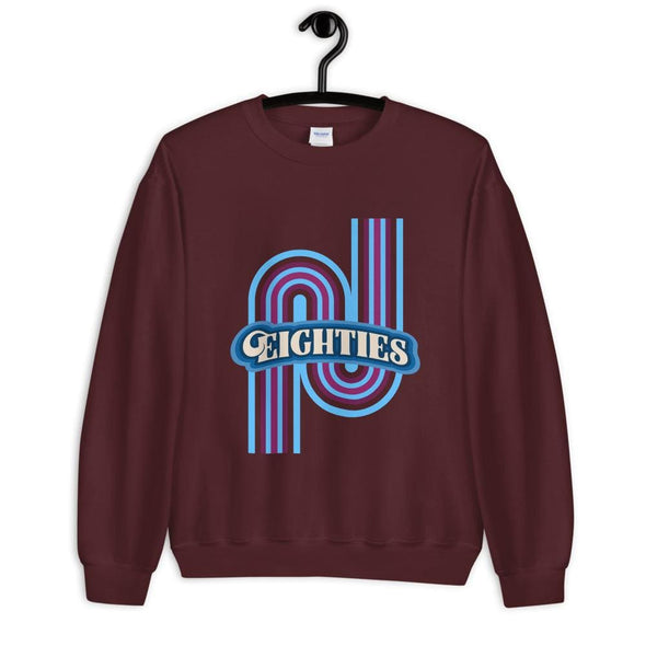 Eighties Design on Sweatshirt - Maroon / S - Sweatshirt