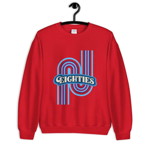 Eighties Design on Sweatshirt - Red / S - Sweatshirt