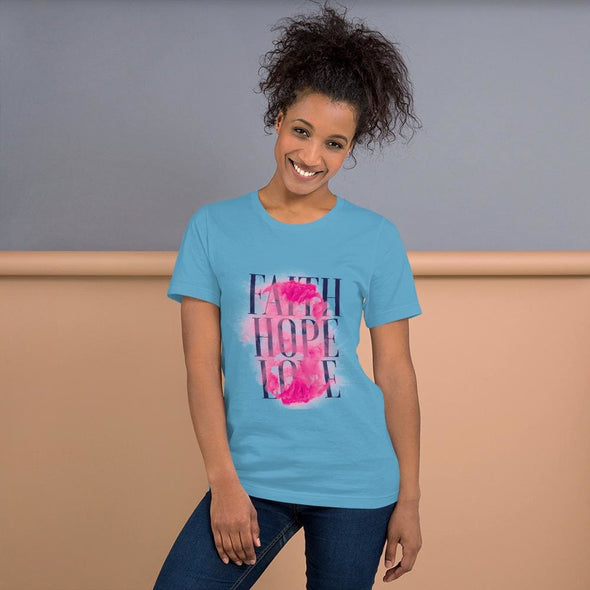Faith Hope Love Design on T-Shirt - Ocean Blue / S -