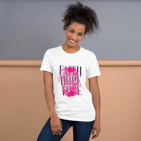 Faith Hope Love Design on T-Shirt - White / XS - T-shirts